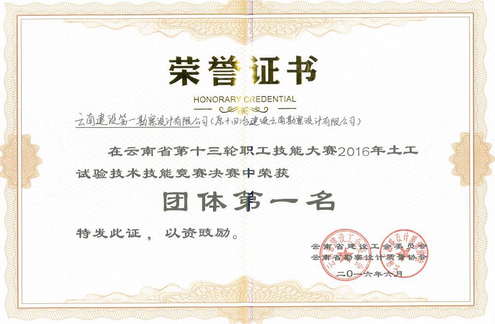 16年云南省职工技能大赛团体第一名